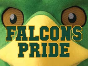 Photo of Freddy Falcon with the words Falcons Pride