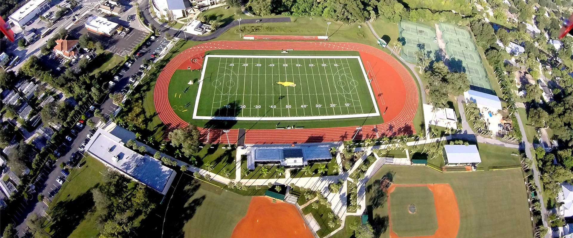 Aerial view of the athletic fields
